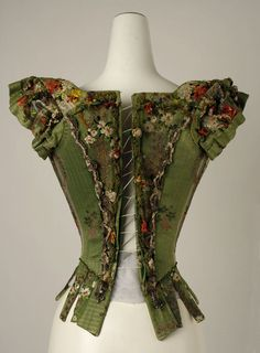 18th century bodice. (I think this was used as Victorian fancy dress later! I've seen a front view of this spmewhere too.)