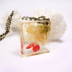 yellow red flower terrarium necklace square spring jewelry real flower jewellry…