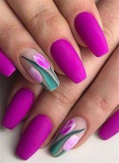 Tulip Nails, Lily Nails, Rose Nails, Matte Nails, Stiletto Nails, Acrylic Nails, Spring Nail Art, Spring Nails, Winter Nails