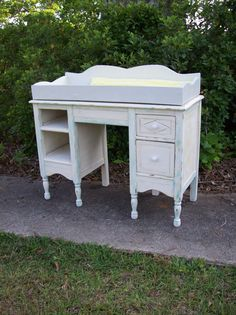 Items similar to Baby Changing Table Convertable Changes to Desk Vanity Vintage Furniture Pottery Barn Style Nursery French Country Treasury Item on Etsy Baby Furniture, Vintage Furniture, Pottery Barn Style, Baby Table, Baby Changing Tables, Baby Dresser, Kid Essentials, Old Desks, Table Desk