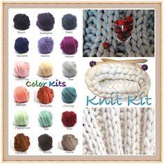KNIT KIT, New Blanket Kit! COLOR Choice!  Chunky Blanket, Needles,8.6# Chunky Yarn, Tutorial, Patterns,