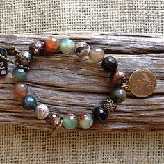 Honesty Bracelet   Green Rust Marbled Faceted Bead Gold Je T'Aime