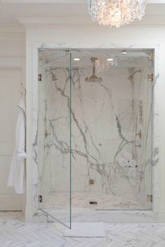 Bathroom; clean lines, marble shower