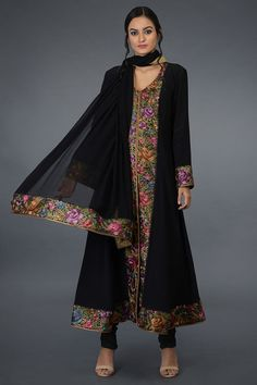 From our heritage Parsi Gara hand embroidered suits collection, this is a black Parsi Gara hand embroidered pure crepe silk anarkali kurta paired with black pure georgette silk dupatta and pure crepe silk lowers. The parsi gara embroidery is in s Hand Embroidery Dress, Embroidery Suits, Embroidery Designs, Pakistani Fashion Party Wear, Indian Fashion, Pakistani Suits, Emo Fashion, Designer Dress For Men, Designer Dresses