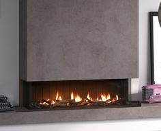 Fireplace panorama view Inset Fireplace, Modern Fireplace, Living Room With Fireplace, Living Rooms, Fireplaces, Design, Decorating Ideas, Home Decor, Houses