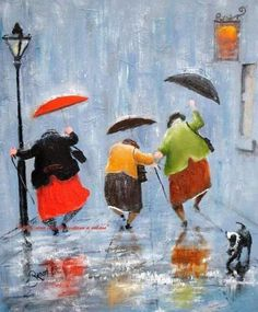 Dancin' in the rain Inge Look Art And Illustration, Friends Illustration, Umbrella Art, Under My Umbrella, Rain Dance, Dance Art, Singing In The Rain, Art Abstrait, Rainy Days
