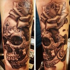Day of the dead skull tattoo.