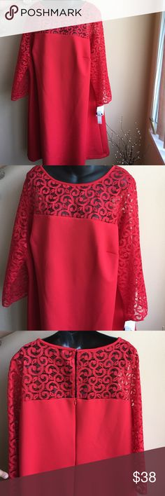 Beautiful red dress Brand new dress with lace detailing. ! Price firm ❗️no further offers or bundle discounts ❗️ Dresses Midi