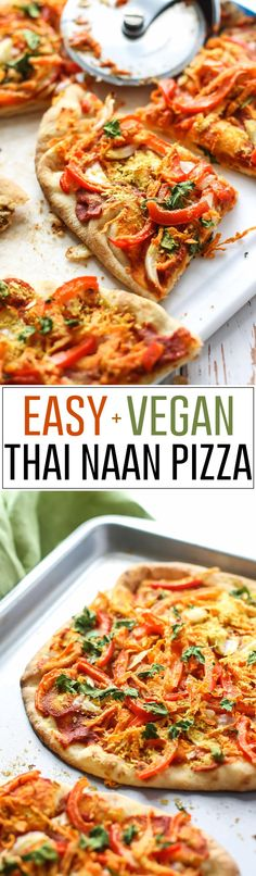 A mix of red curry and tomato paste creates the sauce for this Easy Vegan Thai Naan Pizza. Throw on some veggies and this pizza is ready in less than 20 minutes! - Repinned by cookingwithporn.com