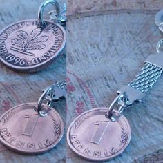 Herrlicher Glückspfennig Schlüsselanhänger gibt es bei www.muenzenringe.de Charms, Belly Button Rings, Washer Necklace, Personalized Items, Jewelry, Shop, Handmade Rings, Unique Jewelry, Handarbeit
