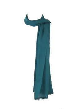 Teal Solid Dupatta With Lace Detail Running Along The Widths; 100% Viscose; 2.25M In Length; Non Crinkled #Fashion #Style #Colors #Drapes #W for #Woman
