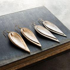 Double Metallic Leather Leaf Earrings. Magnolia Market
