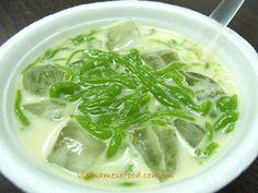Cendol with Mung Bean Sweet Soup Recipe (Chè Bánh Lọt Đậu Xanh) from http://www.vietnamesefood.com.vn/vietnamese-recipes/vietnamese-dessert-recipes/cendol-with-mung-bean-sweet-soup-recipe-che-banh-lot-dau-xanh.html