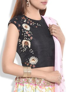 Buy Neelam Arora Black sequined and embroidered  raw silk blouse Online, , LimeRoad