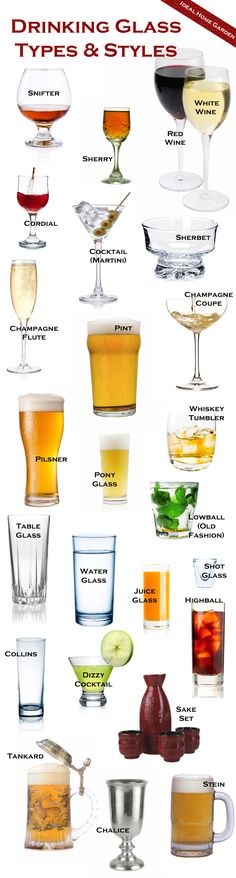 The different types of drinking glasses, and explanations of what they're used for. The different types of drinking glasses, and explanations of what they're used for. Party Drinks, Cocktail Drinks, Cocktail Recipes, Cocktails For Men, Cocktail Glassware, Drink Recipes, Types Of Drinking Glasses, Types Of Cocktail Glasses, Types Of Wine Glasses