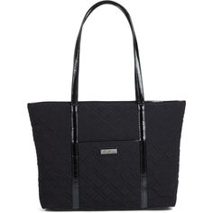Vera Bradley Trimmed Vera Laptop Tote in Classic Black with Black Trim (£82) ❤ liked on Polyvore featuring bags, handbags, tote bags, classic black with black trim, zip top tote bag, vera bradley tote, handbags tote bags, zip top tote and tote hand bags