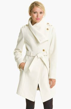 GUESS Belted Asymmetrical Coat available at #Nordstrom