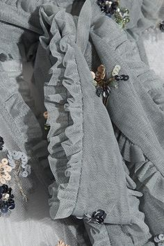 Skye-blue tulle Button and concealed hook and zip fastening at back 100% polyester Dry clean Designer color: Moonstone