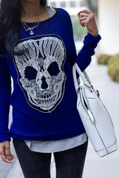 Fashion Women's: Fall + Winter Outfit Style (Cobalt Blue Sweater with Skull Art, Long Grey Racerback Tank, Dark Denim Skinny Jeans, White Leather Tote Purse, Peace Sign Pendant Necklace) | #Fashion #WomensFashion