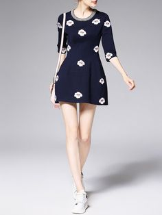 Dark Blue Floral Crew Neck Half Sleeve Mini Dress