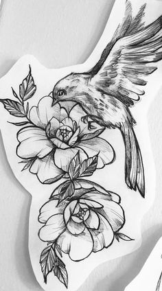 Tattoos Flower With a Bird Tattoo Design - Easy Flower Tattoos. - Tattoos Flower With a Bird Tattoo Design – Easy Flower Tattoos – Easy Tattoos - Bird And Flower Tattoo, Bird Tattoo Back, Flower Tattoo Designs, Flower Tattoos, Flower Tattoo Drawings, Floral Tattoo Design, Diy Tattoo, Tattoo Fixes, Unique Tattoos