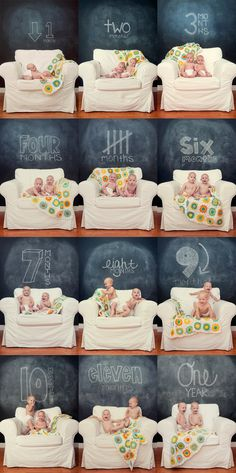 Every month photos.,love the white couch and chalk board...and of course the twins!!