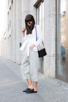 "outfit details: tie-front blouse – Cos culottes – Cos trio bag – Céline flat mules – Topshop sun glasses – Ray-Ban ""Round Metal"""