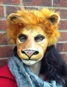 Lion mask/ Paper mache animal mask/ Papier mache mask/ masquerade/