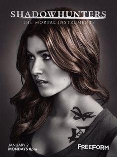 Katherine McNamara as the badass and beautiful Clary Fray on Freeform's TMI Shadowhunters Season 2 Teaser Poster via ShadowhuntersTV Instagram