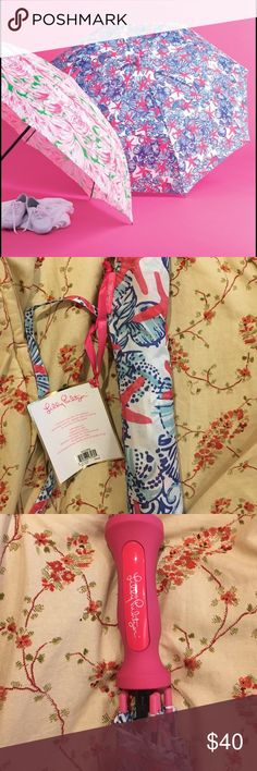 """Brand New Lilly Pulitzer Umbrella Brand new with tags Lilly Pulitzer Golf Umbrella in """"She Sells Sea Shells"""" print. Waterproof, opens to 60"""", gripped handle, double canopy for strong winds, aluminum-free, corresponding sleeve and shoulder strap. Lilly Pulitzer Accessories Umbrellas"""