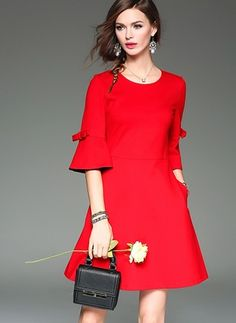 Red Flare Sleeve Cotton A-line Dress - textile Simple Dresses, Cute Dresses, Casual Dresses, Office Dresses, Women's Fashion Dresses, Dress Outfits, Dress Up, Fashion Clothes, Red Flare