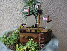 Pink Pirate Fairy Garden House Miniature Fairy by LillysFigment