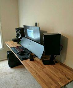 Top 30 Stunning Home Office Design Setup Desk, Computer Desk Setup, Computer Station, Gaming Room Setup, Home Office Setup, Pc Desk, Pc Setup, Home Office Design, Computer Workstation
