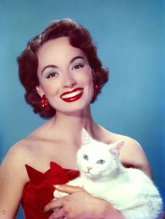 Vintage Glamour Girls: Ann Blyth, Beautiful photo of her and her cat.