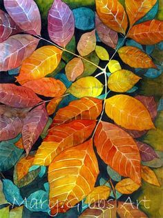 painting by Mary Gibbs Art Watercolor, Watercolor Leaves, Watercolor Techniques, Art Techniques, Painting & Drawing, Silk Painting, Autumn Art, Autumn Painting, Arte Floral