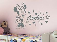 Amazon.com: Name Wall Decal Minnie Mouse Disney Vinyl Decals Sticker Custom Decals Personalized Baby Girl Name Decor Bedroom Nursery Baby Room Decor ZX58: Home Improvement