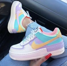 Back to the with these amazing new sneakers from Nike. They come in the original design of the Air Force 1 but then with double layered details. In beautiful pastel rainbow colors. Named Nike Air Force 1 Shadow Pale… Cute Sneakers, New Sneakers, Sneakers Fashion, Fashion Shoes, Colorful Sneakers, Fashion Clothes, Sneakers For Girls, Sneakers Nike, Colorful Nike Shoes
