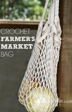 hip2thrift: Crochet Farmer's Market Bag {Tutorial}
