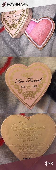 Too faced Sweethearts blush-CANDY GLOW GENTLY USED-only a handful of times, no visible depression in product. You can still see the three distinct colors! This blush is amazing because it's so pigmented, you can use as 3 individuals, or swirl for one color. Also has a nice shimmer to it so it's a blush and highlight in one! *NO BOX* see other too faced stuff for bundling! Too Faced Makeup Blush