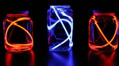 How to Make Recycled Fourth of July Table Lanterns ~ Creative Green Living. also fun for camping, (another tip, camping related, is to activiate a glow stick, and poke it in the ground at any tent-stake or guy-wire stake not directly adjacent to the tent, to reduce night time tripping)