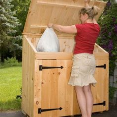 Need a storage shed? Browse Jamaica Cottage Shop to find a large selection of wooden storage shed kits. Choose from basic utility to large or small sheds. Garbage Can Shed, Garbage Can Storage, Garbage Recycling, Recycling Containers, Building A Storage Shed, Outdoor Storage Sheds, Storage Shed Plans, Storage Boxes, Wood Shed Plans