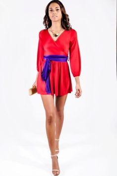 Trendy Cute cherry red/purple wrap deep v backless blouson sleeve party mini dress fo cheap | Affordable Clothing | 1015 store