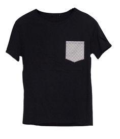 T-shirt con tasca - Nero