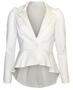 Amazon.com: Womens Plain Button Peplum Blazer Jacket: Clothing