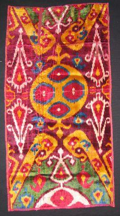 Uzbek Silk Velvet Fragment, 19 th c, handwoven textiles. Bukhara.