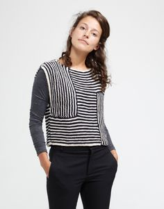Love the use of stripes - sideline top pattern - wool and the gang