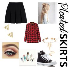 """""""Look like a school girl, act like a boss"""" by elleebird ❤ liked on Polyvore featuring Alexander Wang, WithChic, Eugenia Kim, Mateo, Converse and pleatedskirts"""