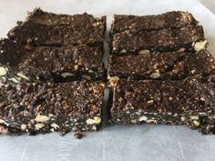Chocolate Almond Butter Paleo Protein Bars on parchment paper