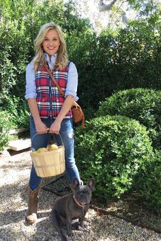 Reese Witherspoon wearing Old Gringo For Draper James Cowboy Boots and Draper James Printed-Parker-Vest-Color: Scotty Check