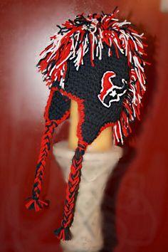 Houston Texans Inspired Beanie Mohawk Hat Hand by RockyMtnFringe, $25.00